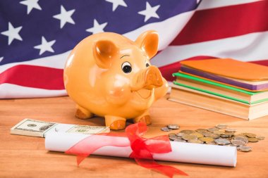 diploma and piggy bank