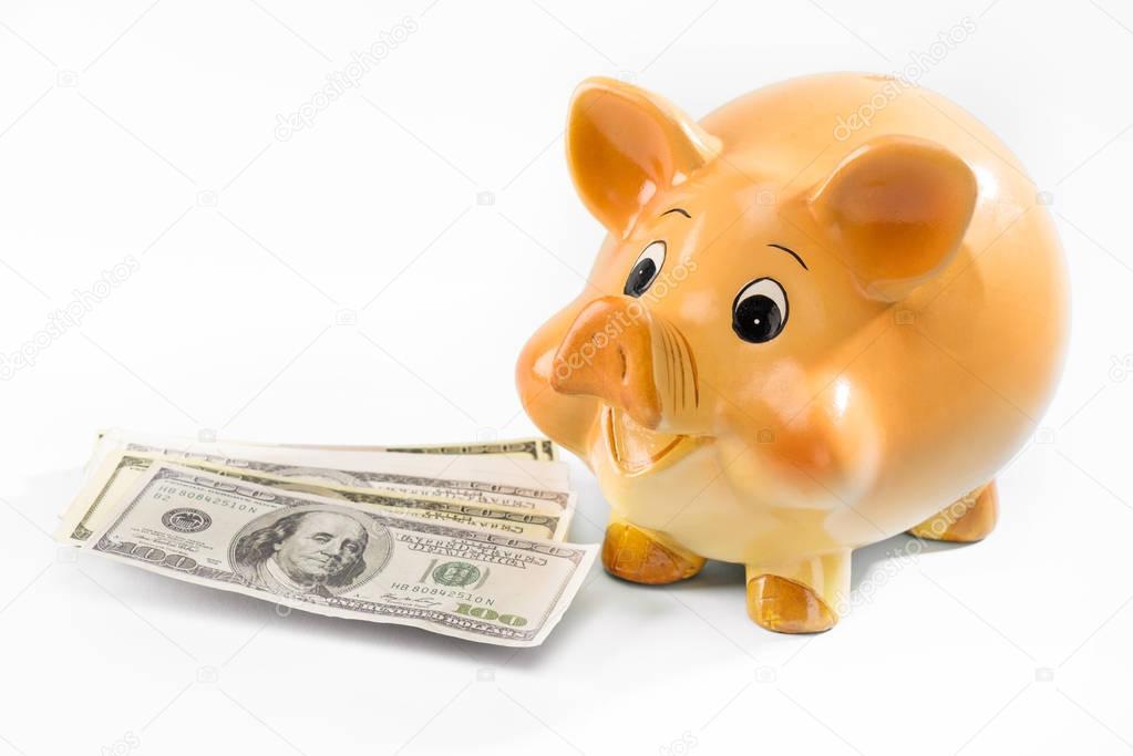 Piggy bank and dollar banknotes