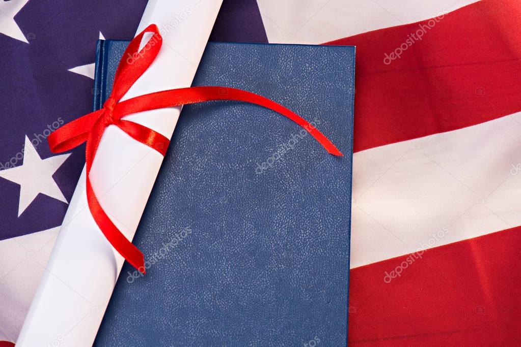 Diploma and us flag