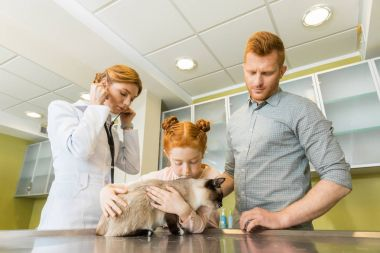 Man and his daughter at veterinary doctor