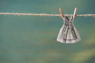 dollar banknote on clothesline