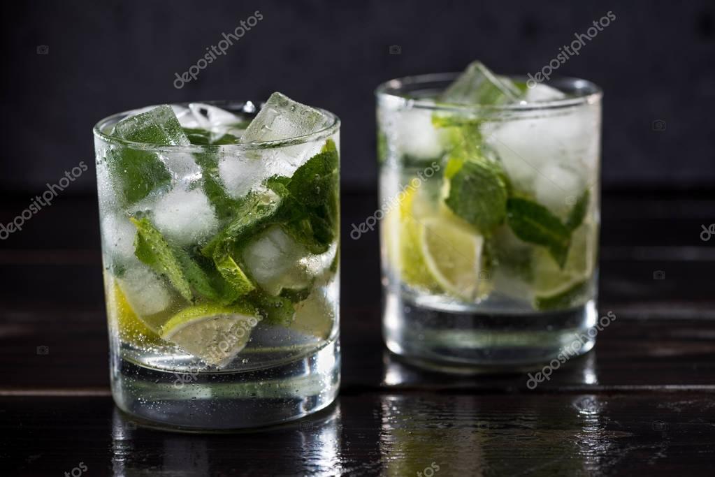 Mojito cocktail in glasses