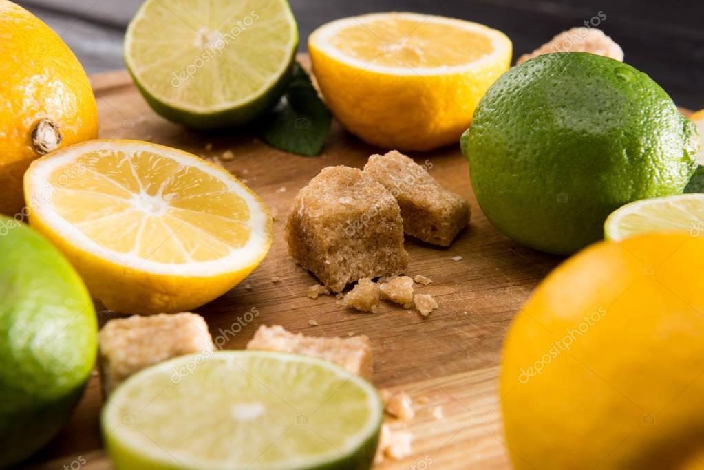 lemons and limes with brown sugar