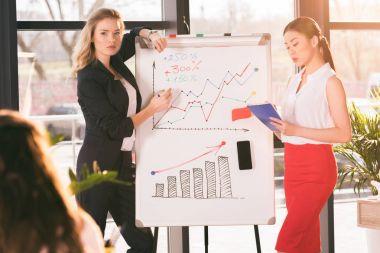 Professional young businesswomen in formalwear making presentation near whiteboard stock vector