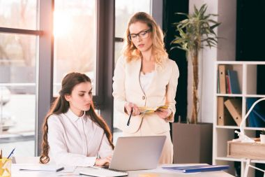 young businesswomen talking while working at office
