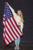tini lány usa zászló
