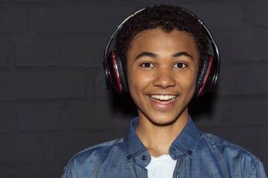 teen boy in headphones