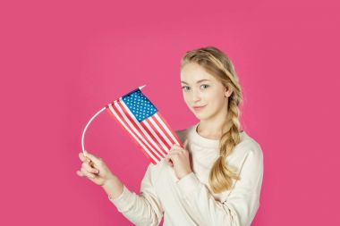 teen girl with usa flag