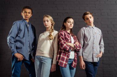 group of stylish teenagers