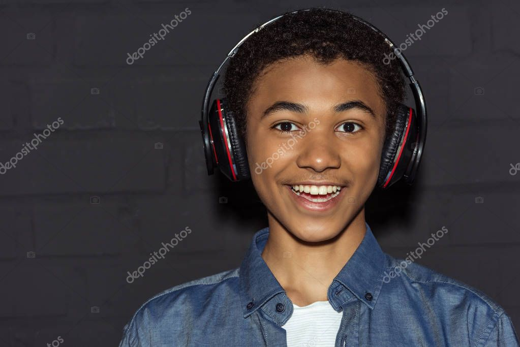 teen boy in headphones