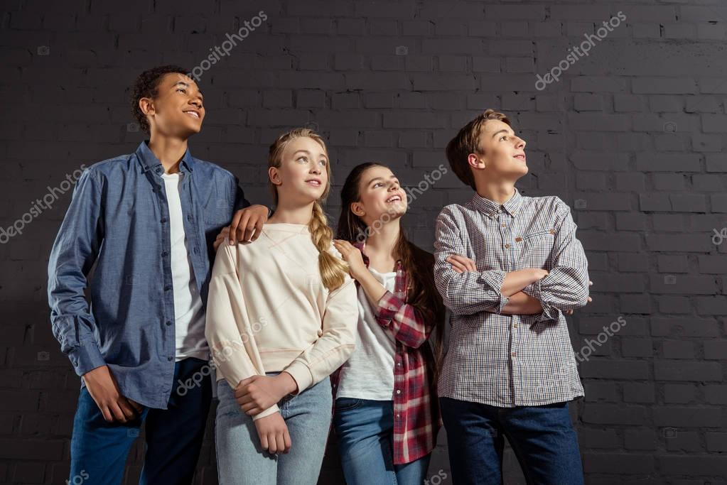 group of stylish teenagers