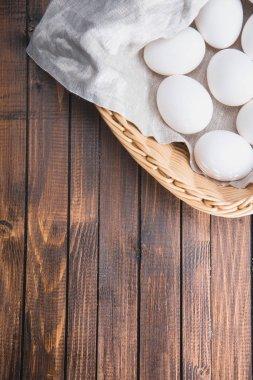 chicken eggs in basket