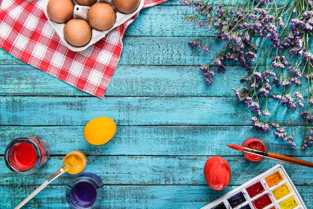 colored eggs and paints