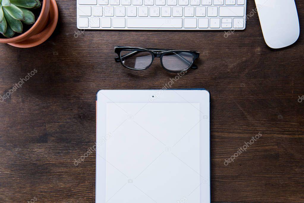 Digital tablet on desk