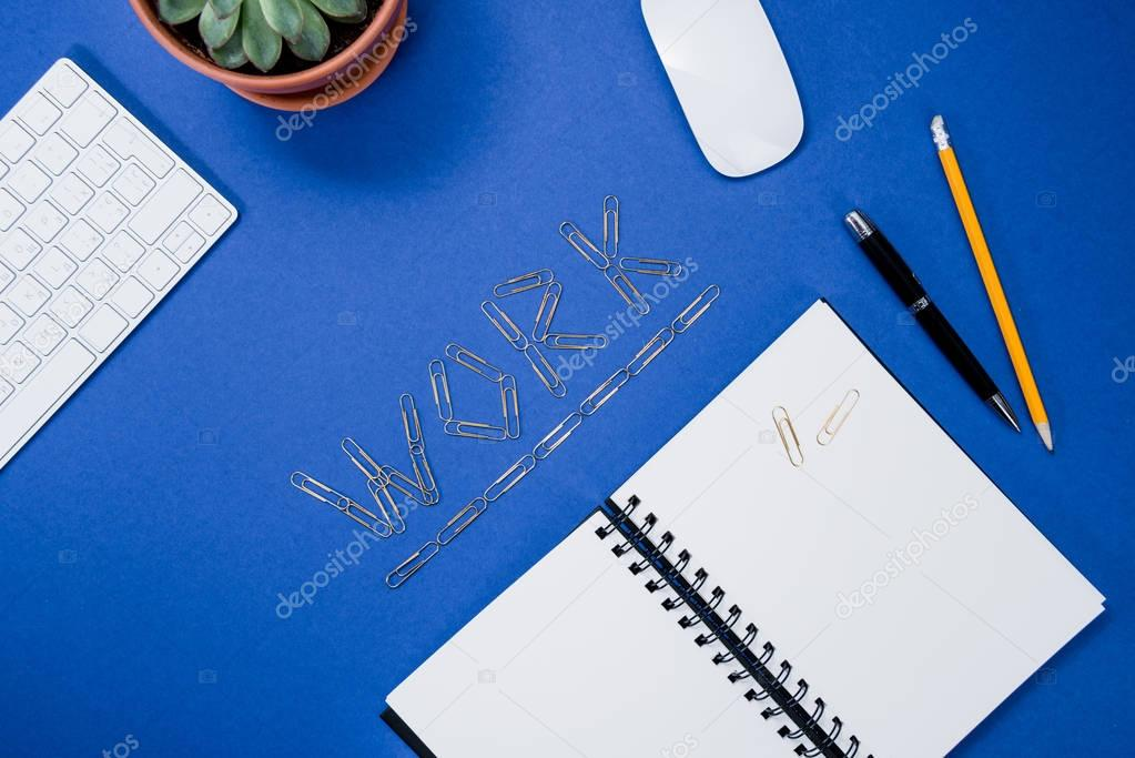 work lettering on table