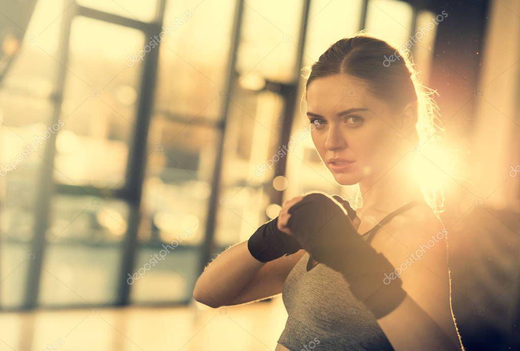 sportswoman ready to fight