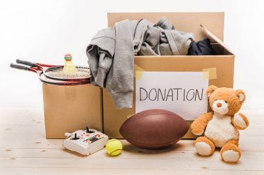 cardboard boxes with donation