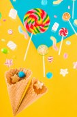 Fotografie Waffle cones and candies