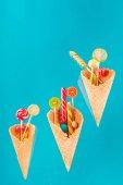 Fotografia caramelle e coni della cialda