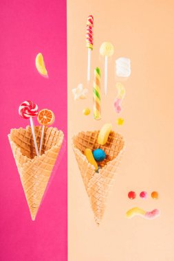 waffle cones and candies
