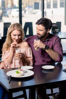 couple in love on coffee break