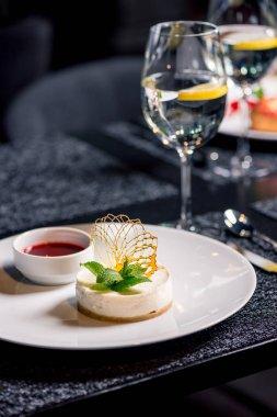 tasty dessert on table