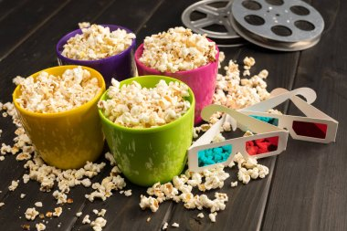 popcorn and 3D glasses