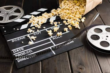 popcorn and movie clapper board