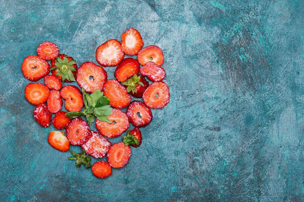 strawberries in heart shape