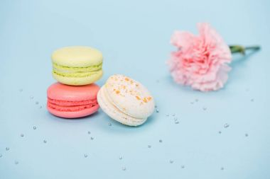 Three macarons with pink flower