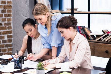 Young businesswomen at workplace