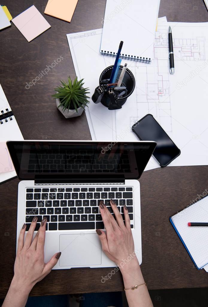 businesswoman working at workspace