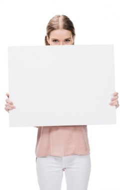 Young woman holding blank banner isolated on white stock vector