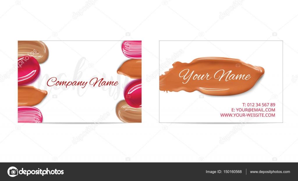Carte De Visite Dartiste Maquillage Modle Vectoriel Avec Frottis Cosmtiques
