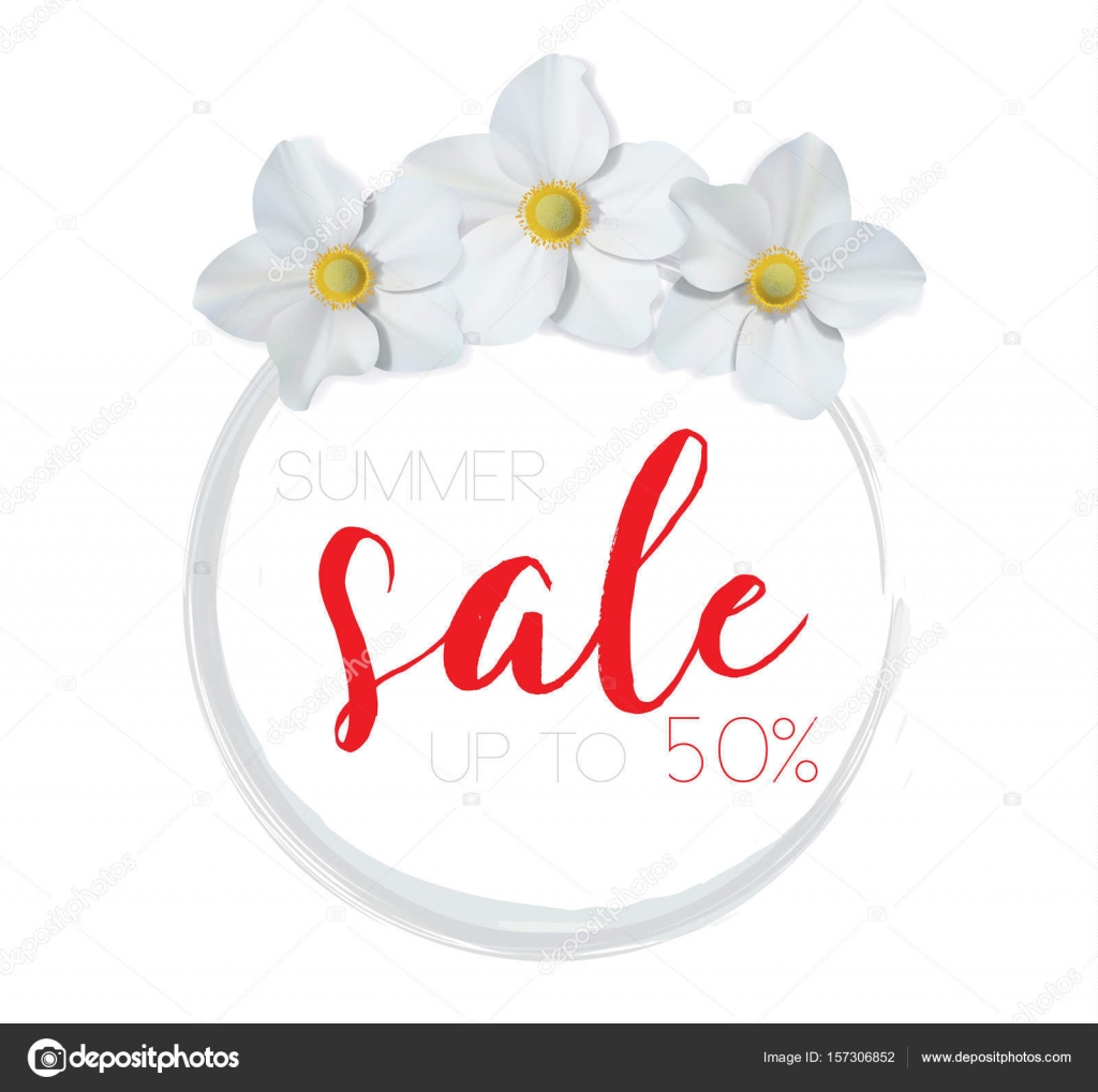 Flower banner with text summer sale on white background with flower banner with text summer sale on white background with beautiful flowers artistic design vector banners greeting cards summer sales vector by kristyandbryce Images