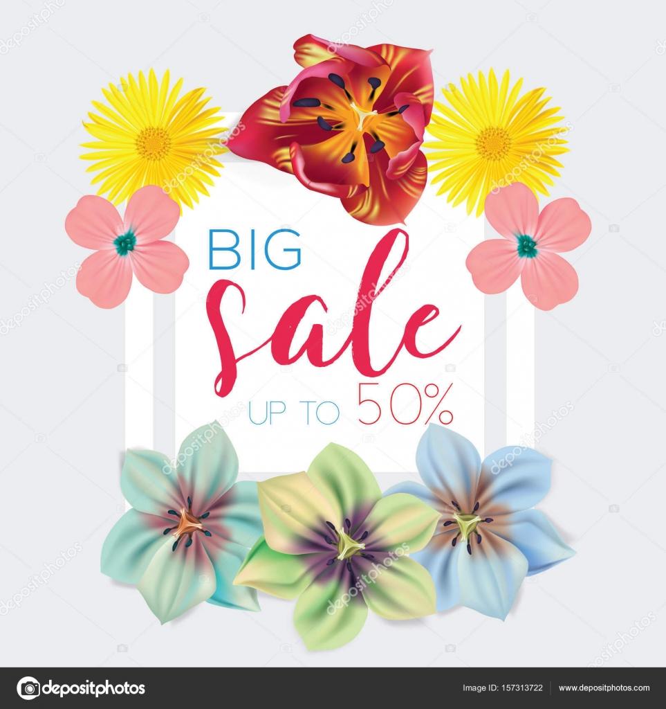 Plantilla de venta grande con flores de fondo ilustración de vector ...