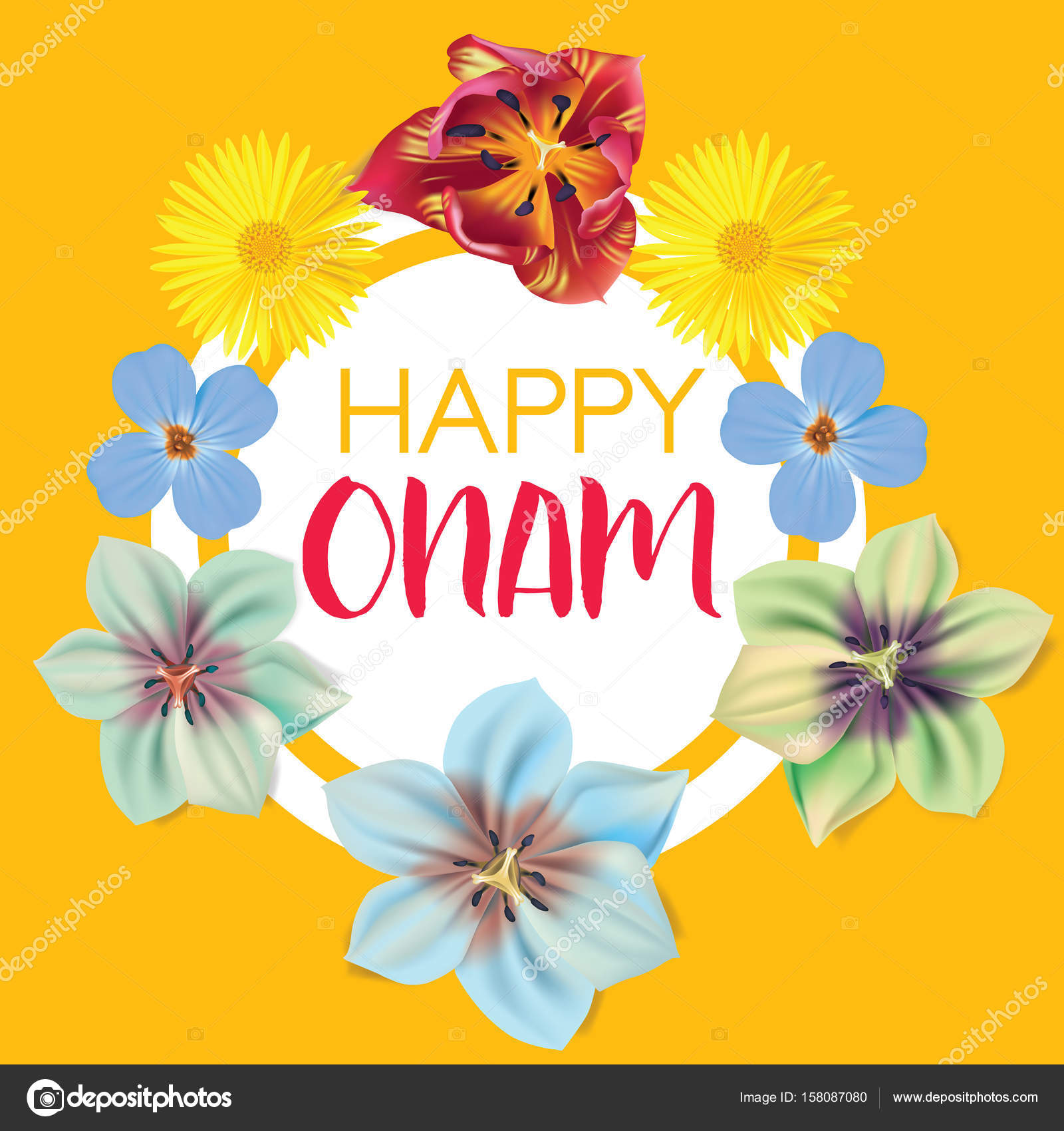 Happy onam flower greetings for south indian festival onam happy onam flower greetings for south indian festival onam vector illustration stock vector kristyandbryce Image collections