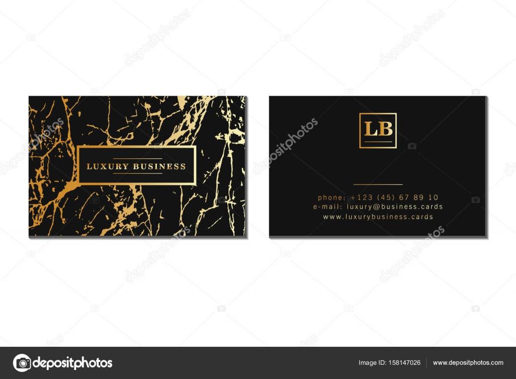 Cartes De Visite Luxe La Banniere Et Le Couvercle Avec Texture Marbre Les Details Feuille Dor Sur Fond Noir Modele Vecteur Graphisme