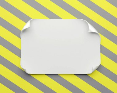 White realistic paper sheet with curved corners and soft shadow on constructing yellow gray background. Paper note template for web banner. Paper frame for text. stock vector