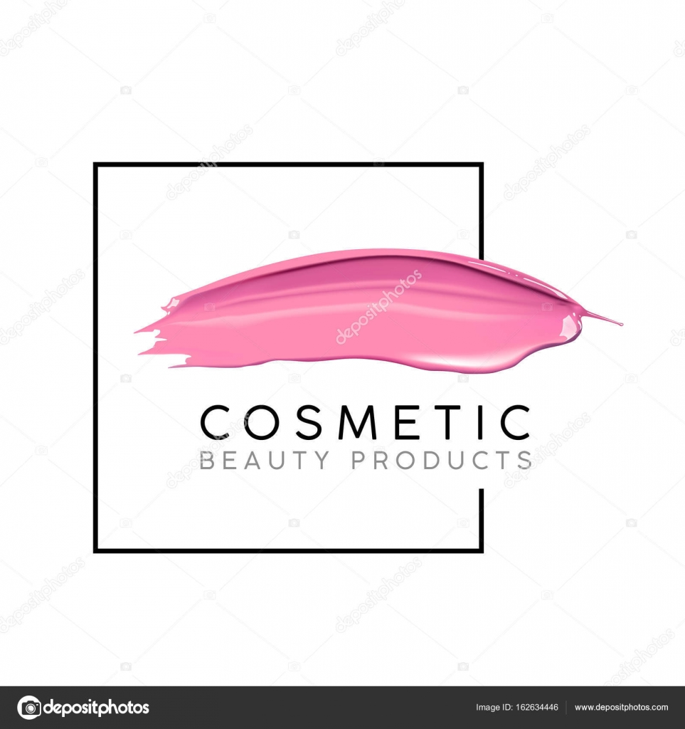 makeup design template with place for text cosmetic logo concept of