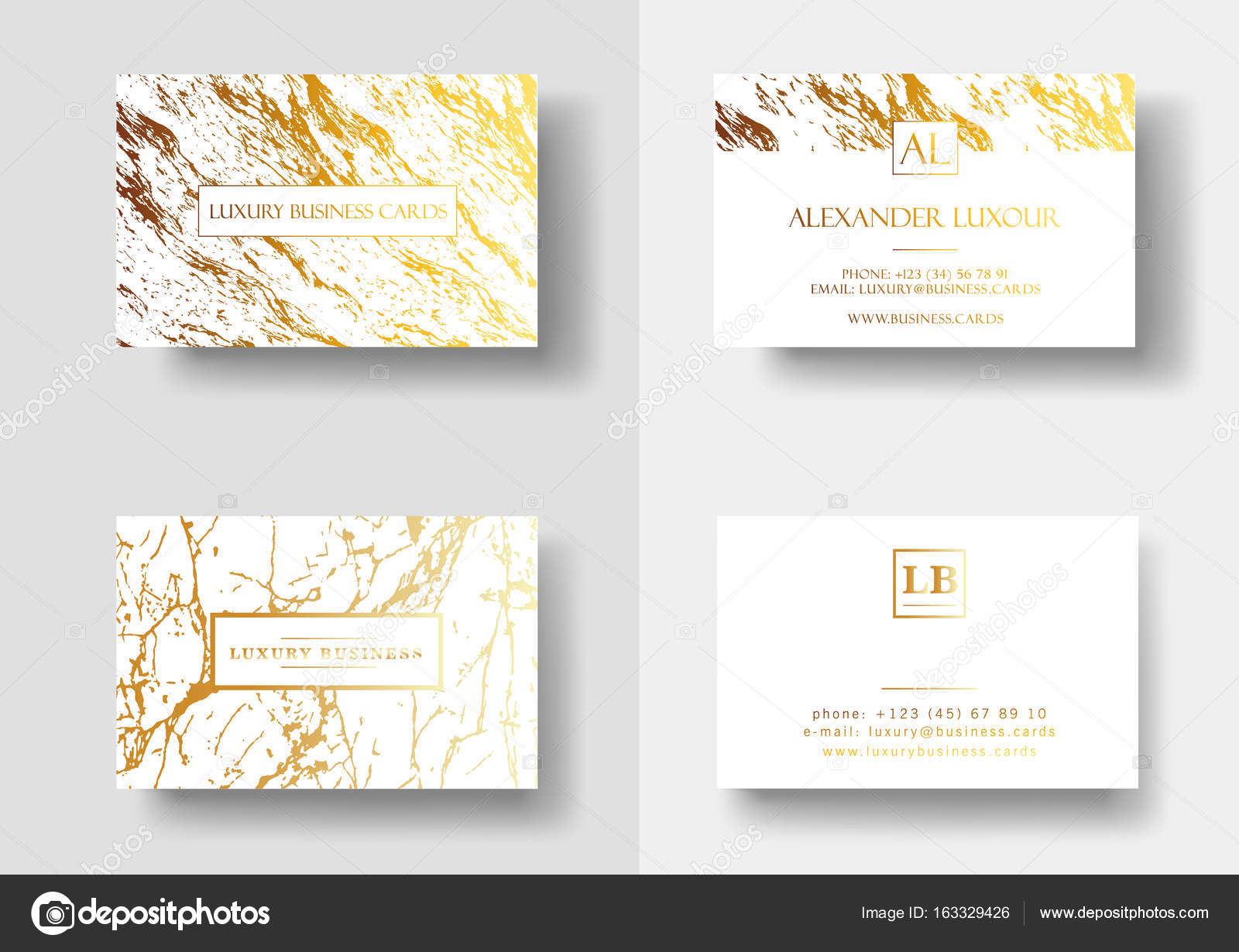 Elegant Business Cards With Marble Texture And Gold Detail Vector Template Banner Or Invitation Golden Foil Details On White Background