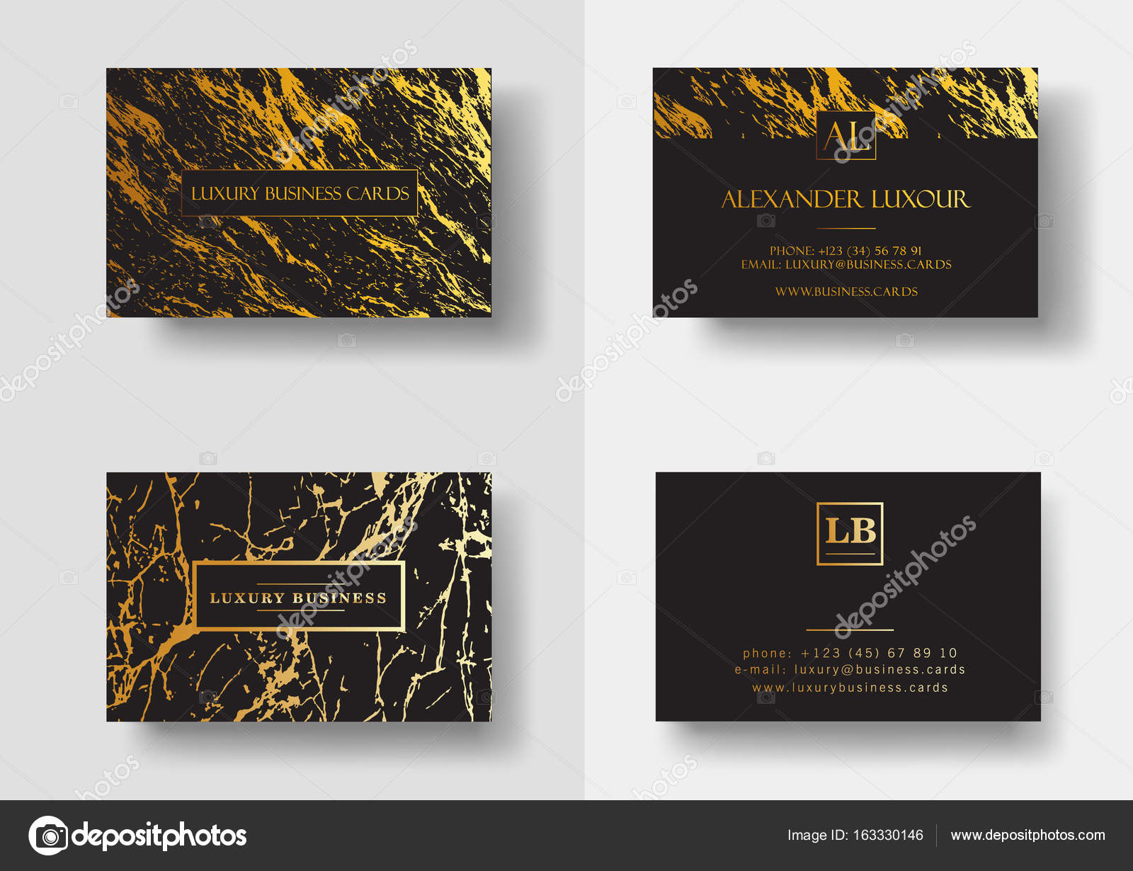 Elegant Black Luxury Business Cards With Marble Texture And Gold