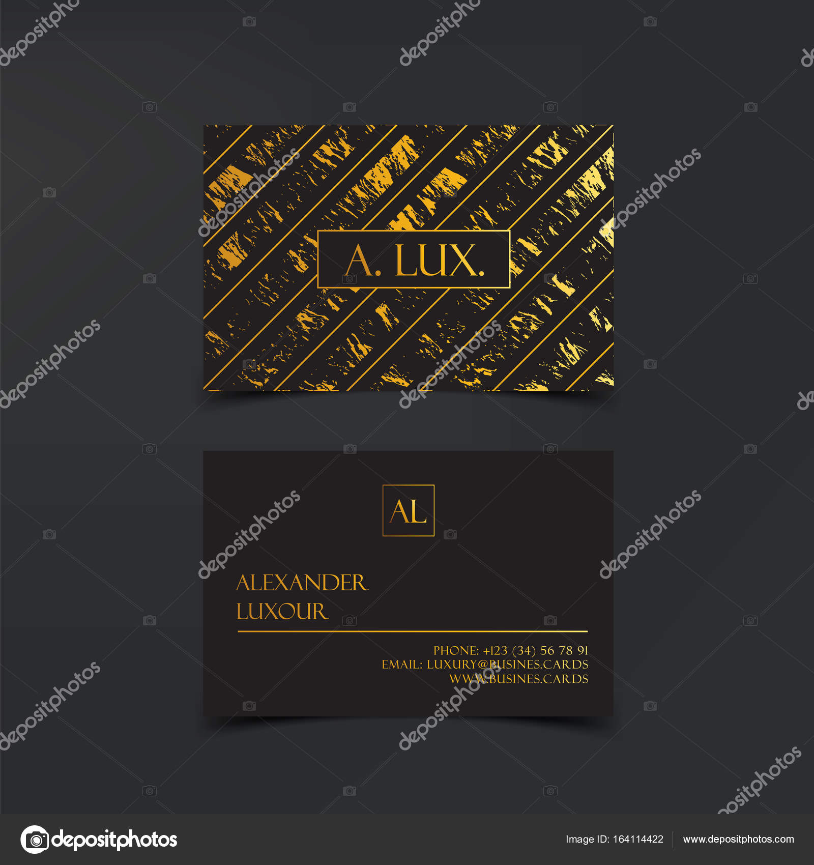 Fashion Elegant Black luxury business cards with marble texture