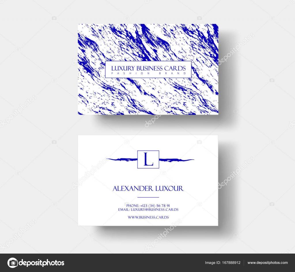 Carte De Visite Creative Modeuse Moderne Avec Texture Marbre Bleu Abstrait Concept Design Vectoriel Pour Le Styliste Maquilleur Photographe