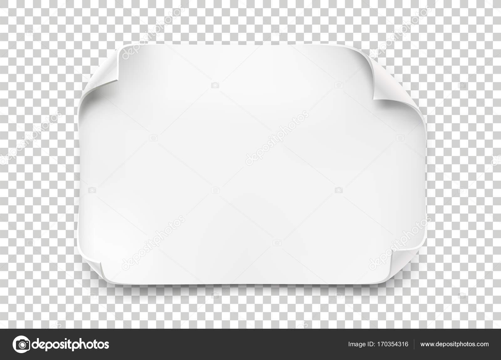 Weiße realistische Papierbogen mit abgerundeten Ecken und weiche ...