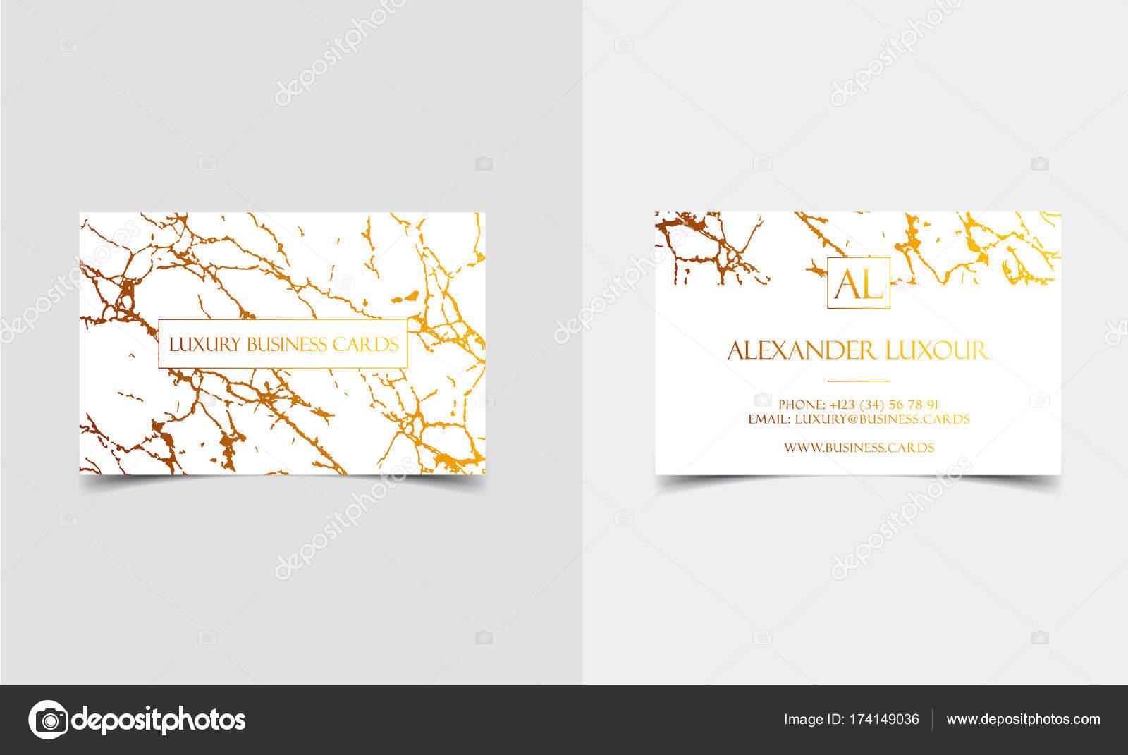 Tarjetas de visita elegante de lujo blanco con textura de mármol y ...