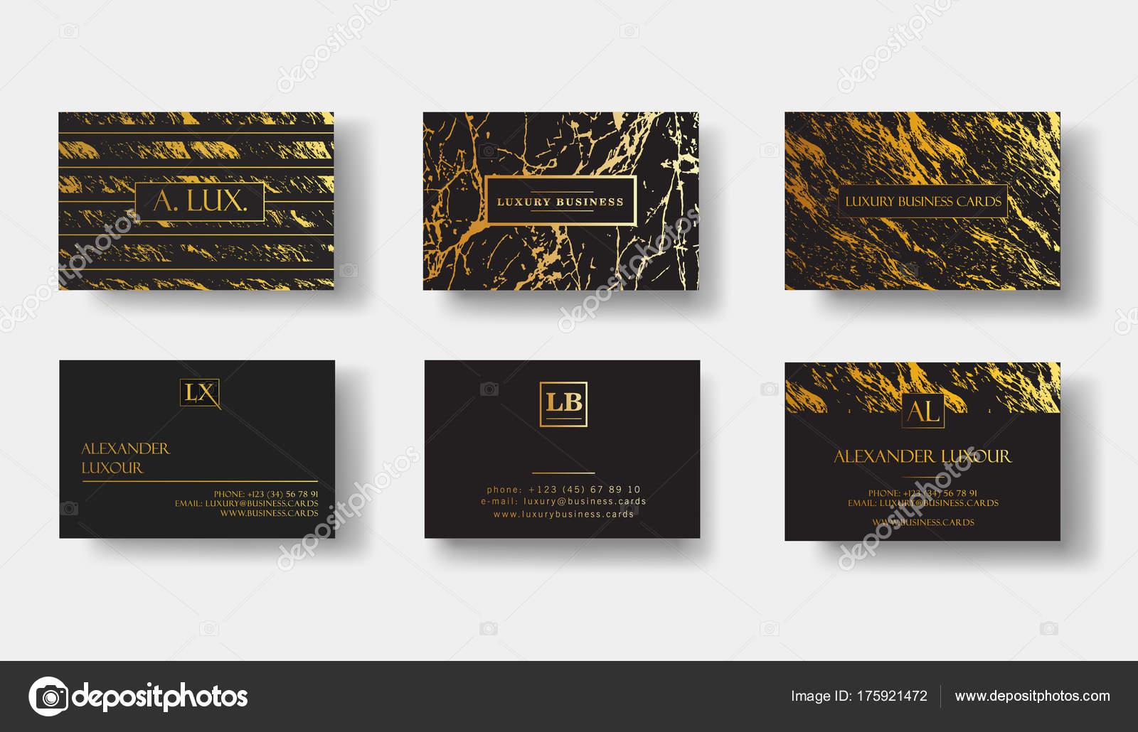Cartes De Visite Luxe Noir Elegant Ensemble Avec Texture Marbre Et Modele Vecteur Or Detail Banniere Ou Une Invitation Des Details La Feuille Dor