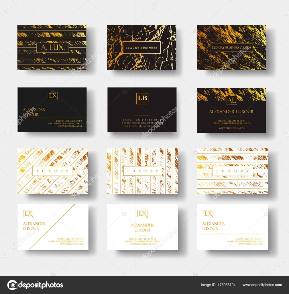 Elegant Black And White Luxury Business Cards Set With Marble Texture And Gold Detail Vector Template Banner Or Invitation With Golden Foil Details Branding And Identity Graphic Design Stock Vector C