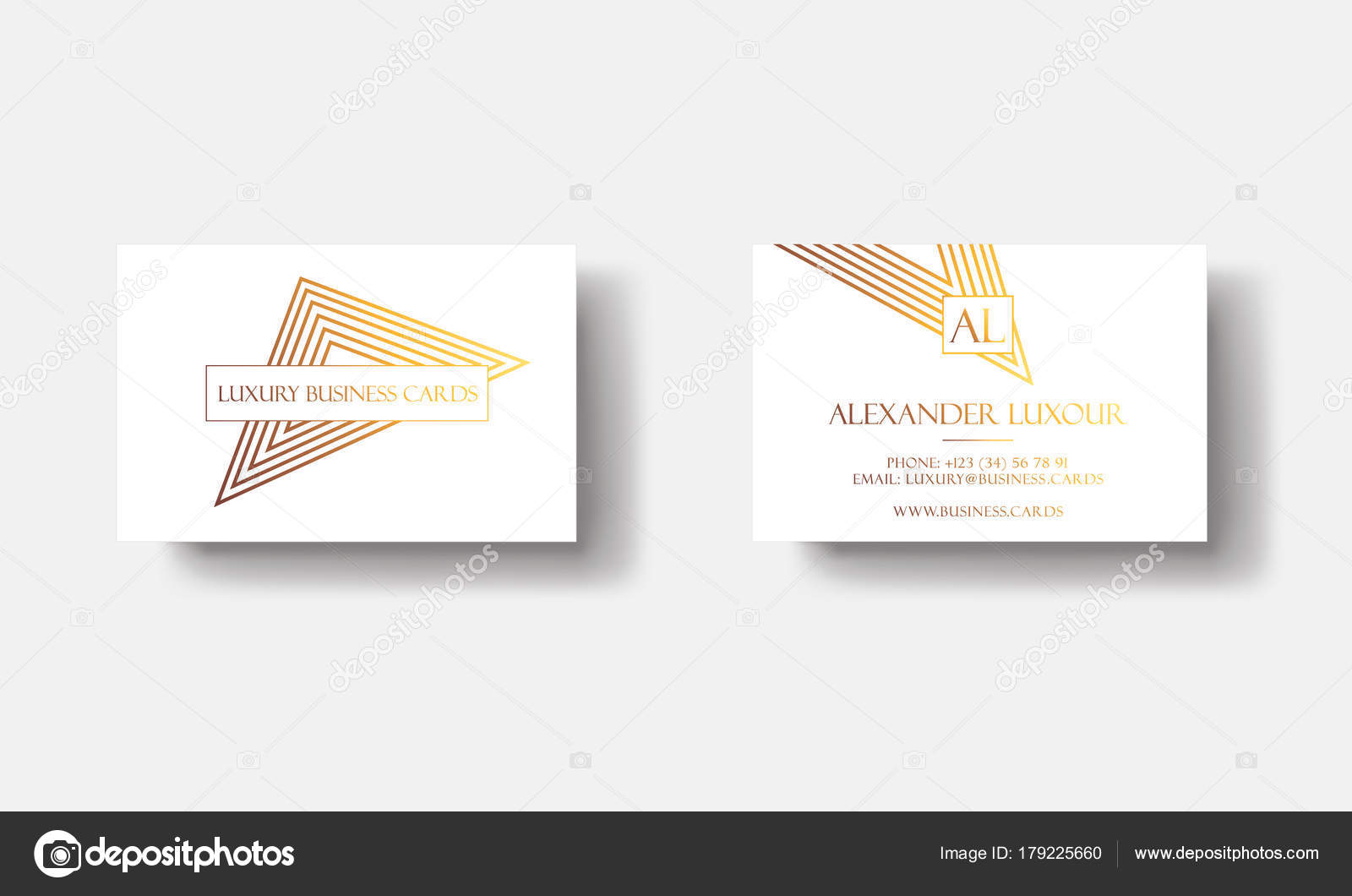 White Gold Luxury Business Cards For VIP Event Elegant Greeting Card With Golden Triangular Geometric
