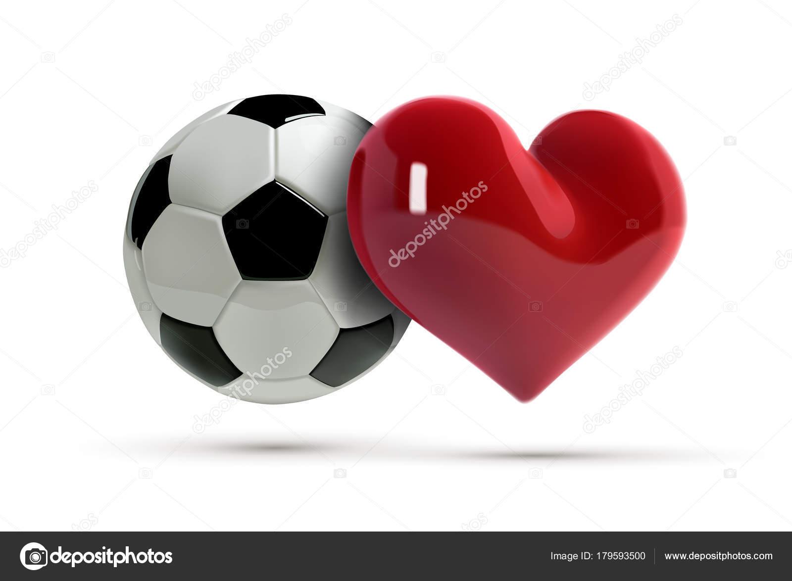 Fútbol O Futbol Ball Vector Y Corazón Rojo. Pelota De